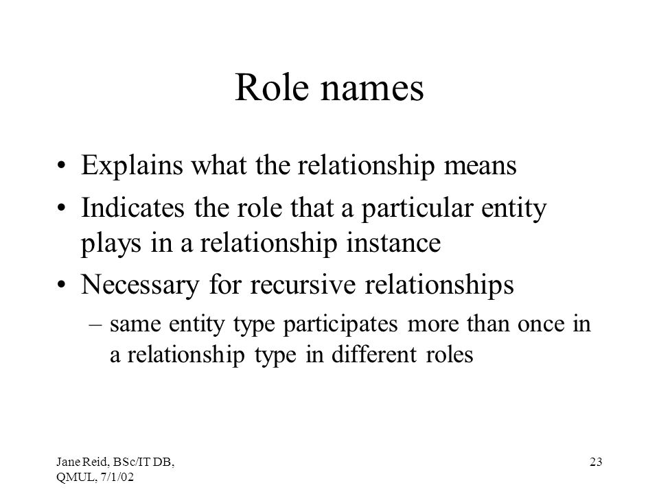 Role names Explains what the relationship means