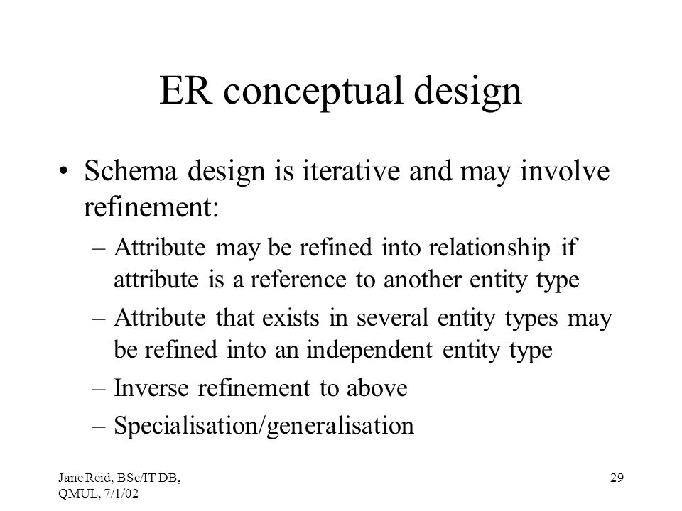 ER conceptual design Schema design is iterative and may involve refinement: