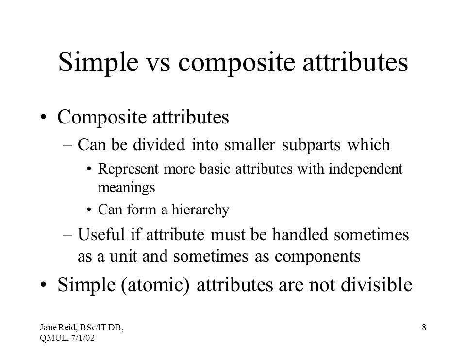 Simple vs composite attributes
