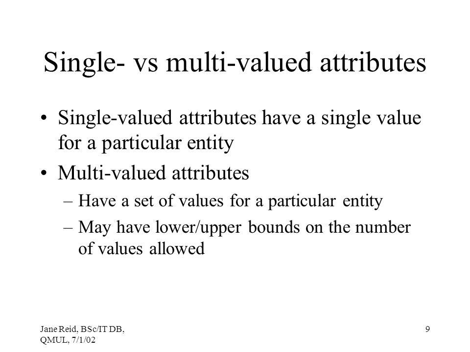 Single- vs multi-valued attributes