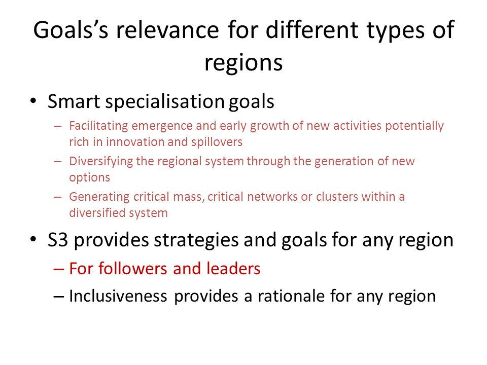 Goals's relevance for different types of regions