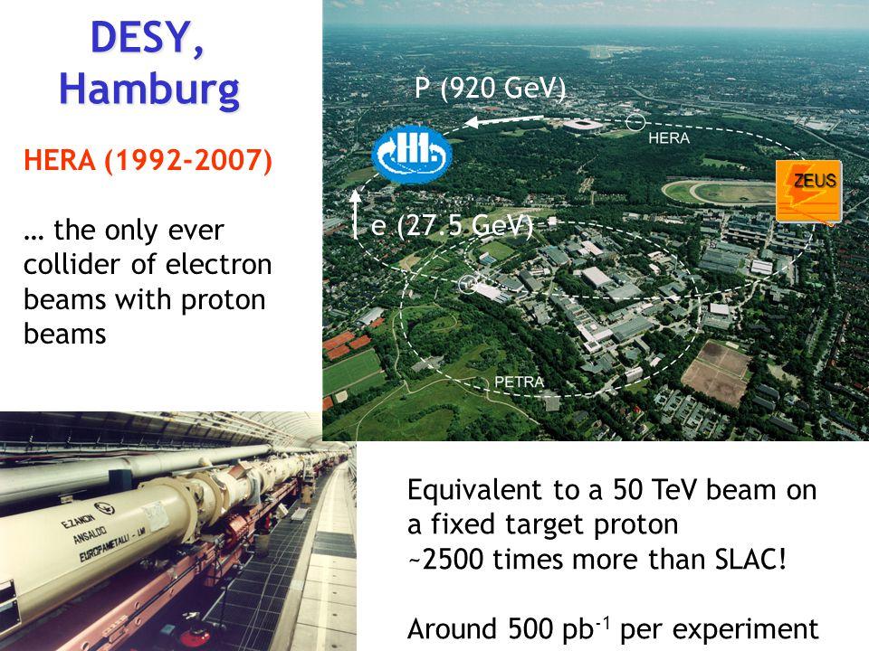DESY, Hamburg P (920 GeV) P (920 GeV) HERA (1992-2007)