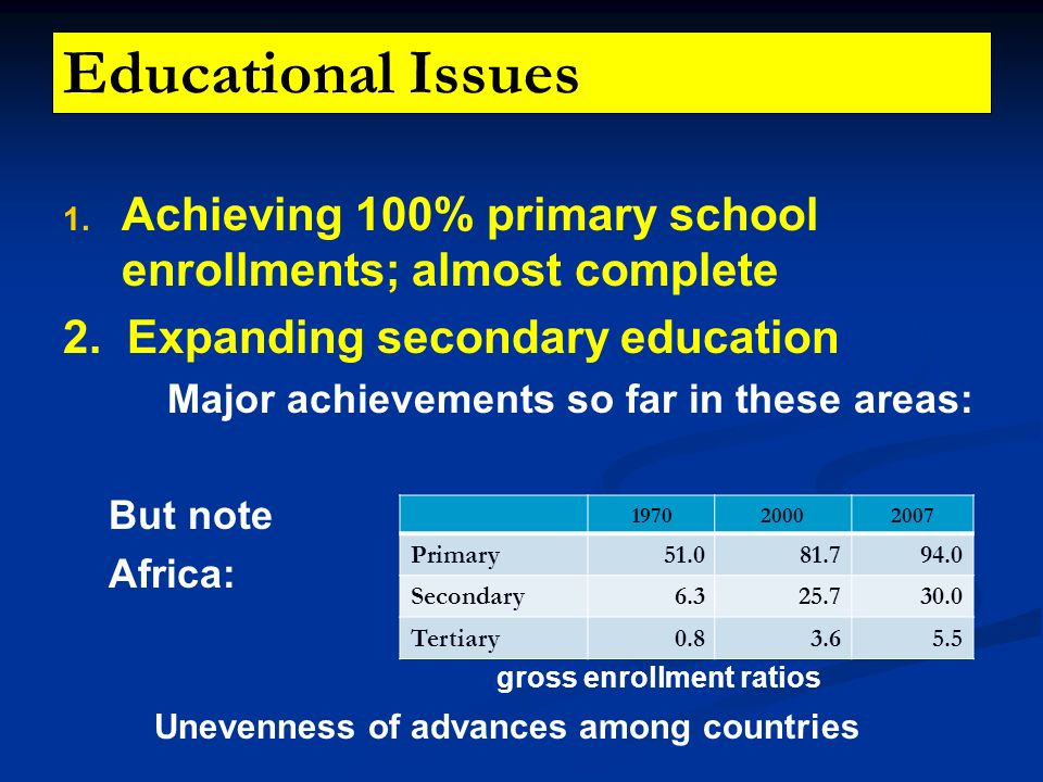 Educational Issues Achieving 100% primary school enrollments; almost complete. 2. Expanding secondary education.