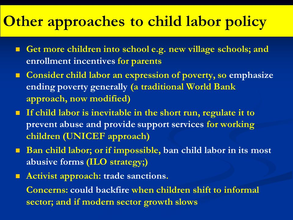 Other approaches to child labor policy