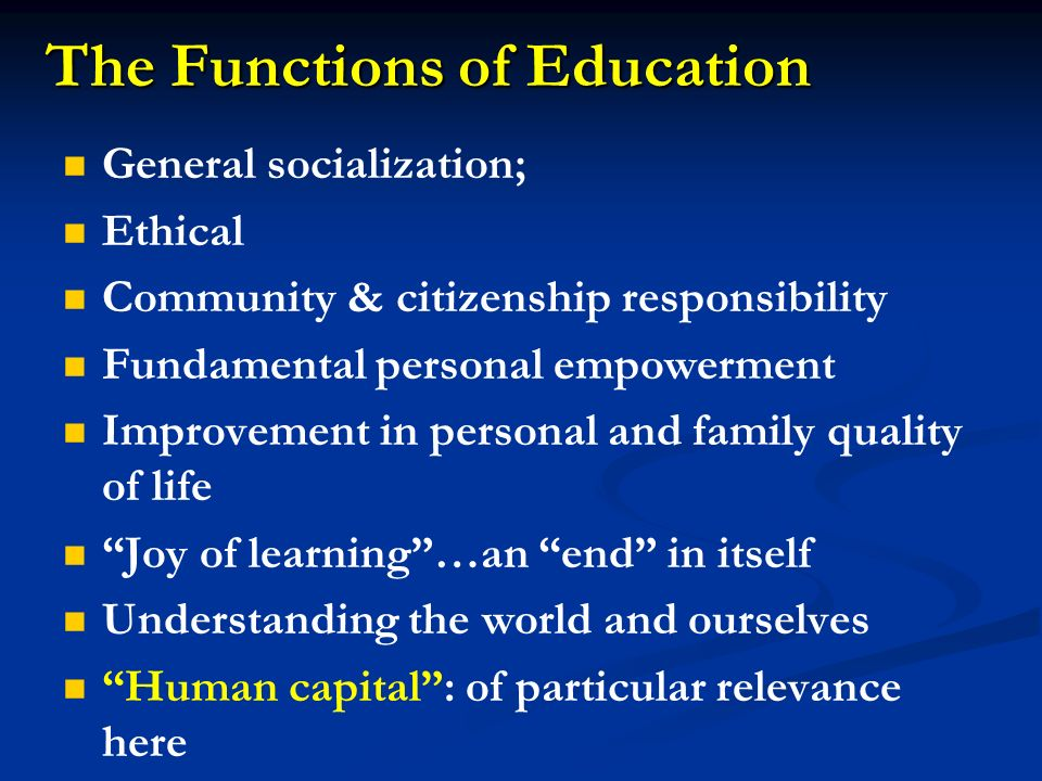 The Functions of Education