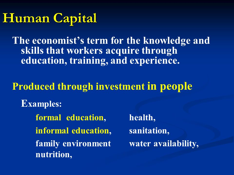 developing quality human capital The low quality of human capital base continues to be a major constraining factor in the economic development effort of many african countries the ability of ssa countries to take.