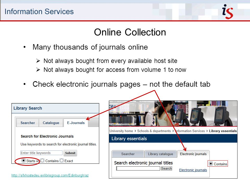 Online Collection Many thousands of journals online
