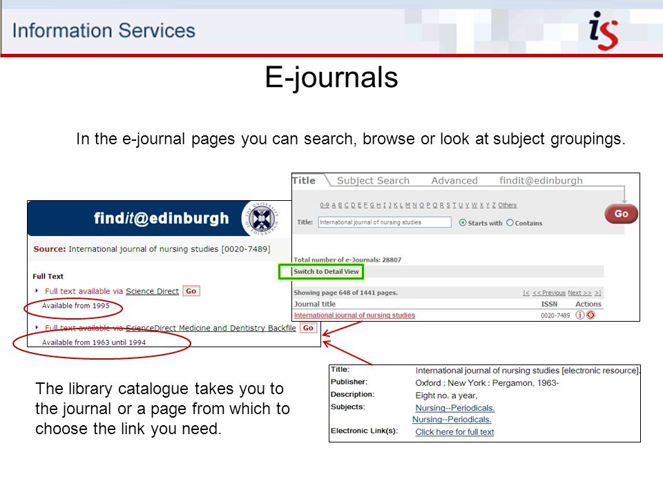 E-journals In the e-journal pages you can search, browse or look at subject groupings.