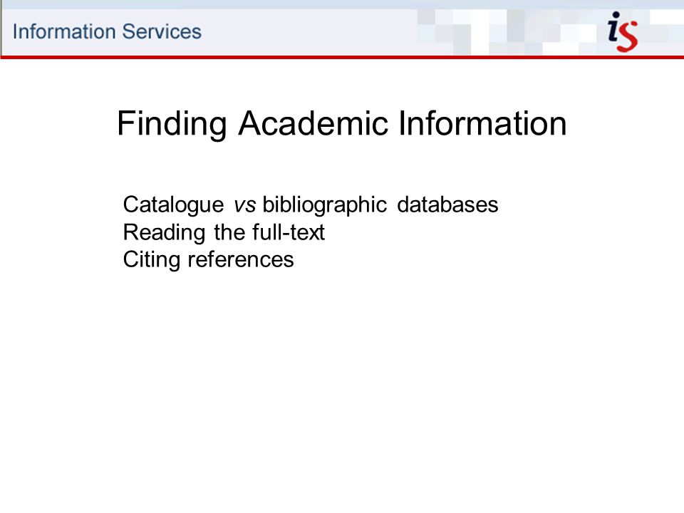 Finding Academic Information