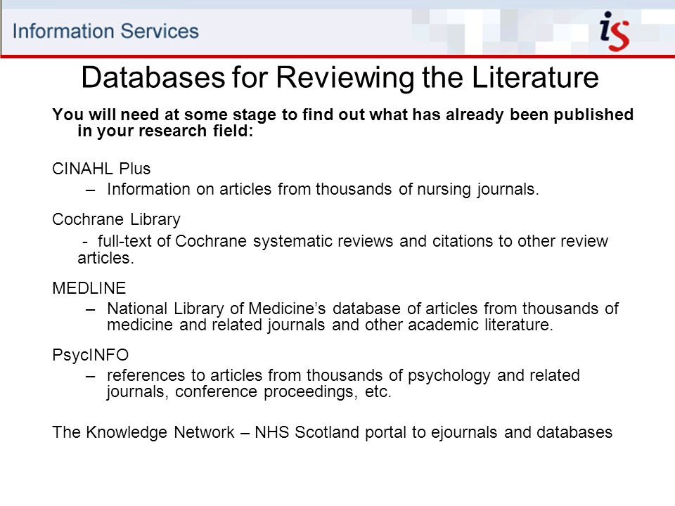 Databases for Reviewing the Literature