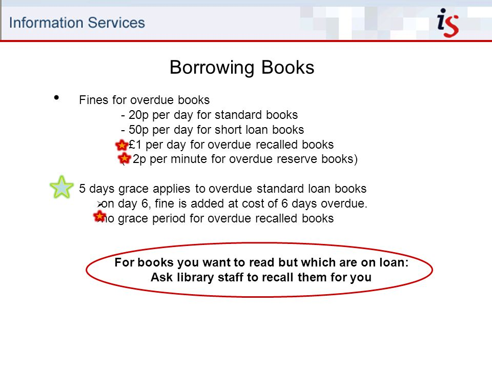 Borrowing Books Fines for overdue books