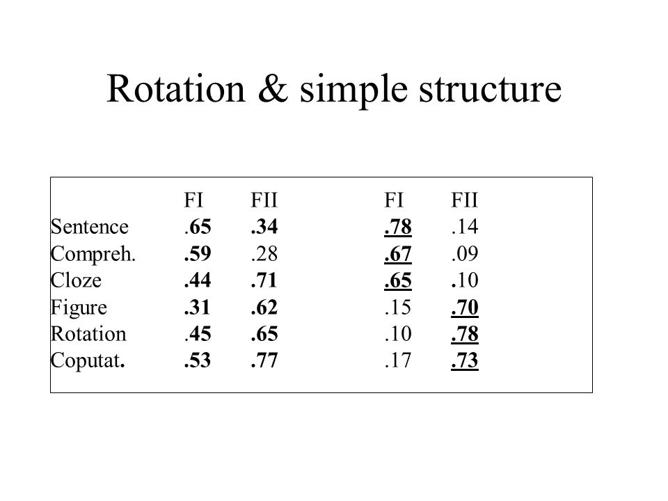 Rotation & simple structure