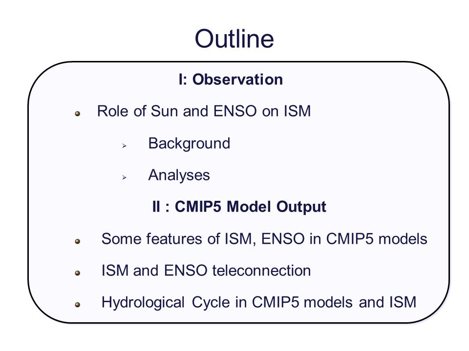 Outline I: Observation Role of Sun and ENSO on ISM