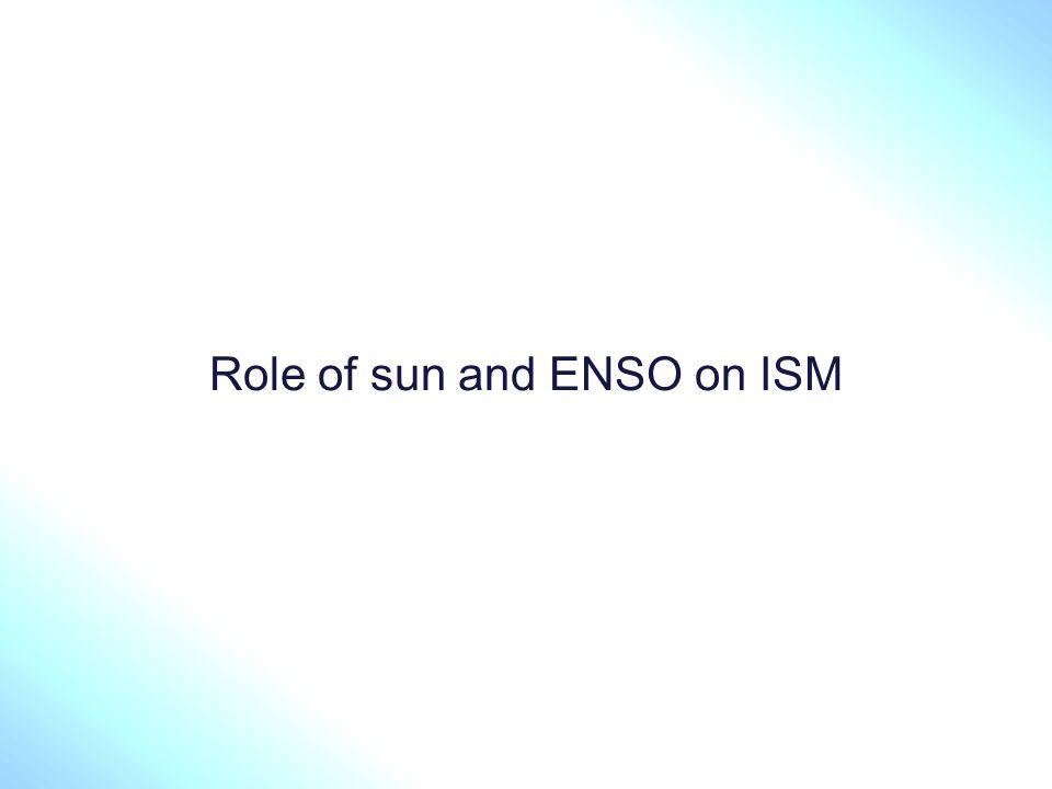 Role of sun and ENSO on ISM