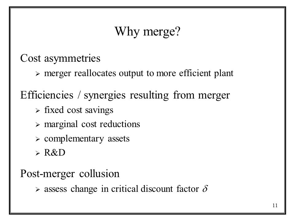 Why merge Cost asymmetries