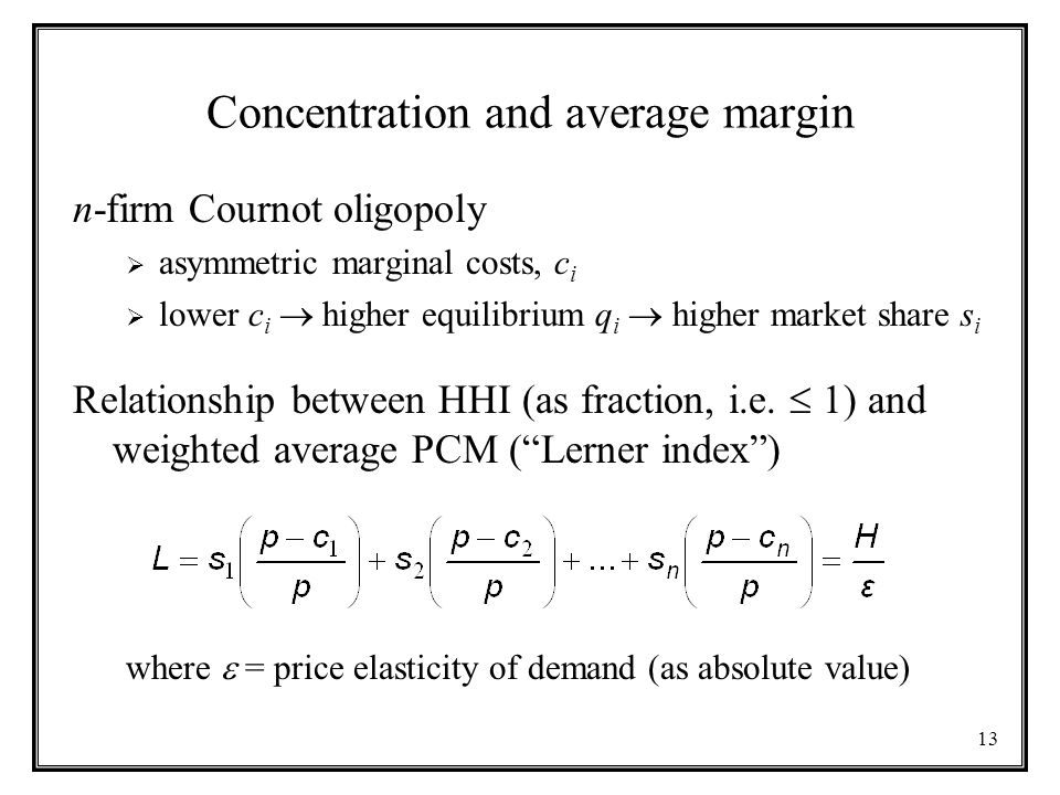Concentration and average margin