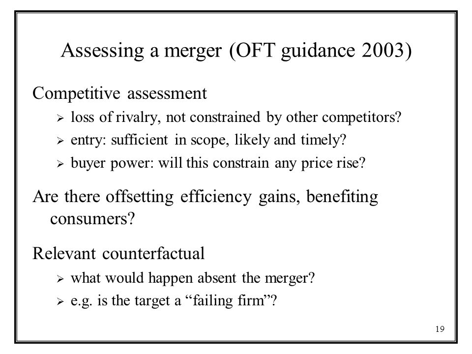 Assessing a merger (OFT guidance 2003)