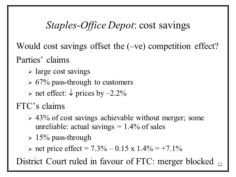 Staples-Office Depot: cost savings