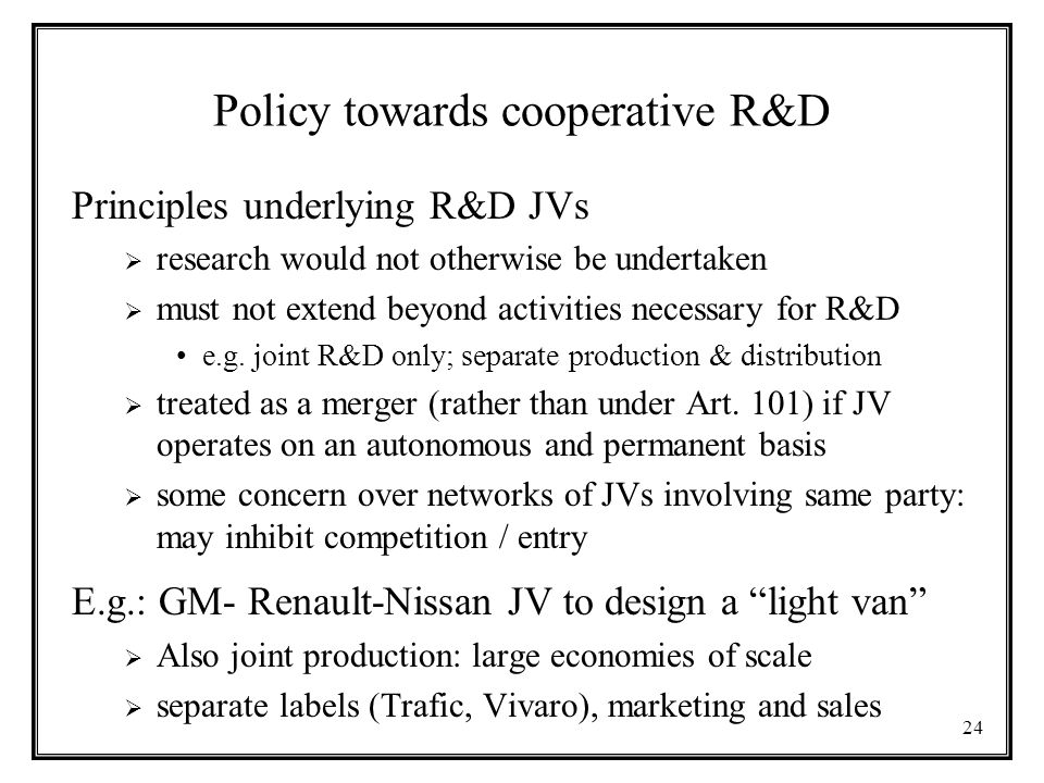 Policy towards cooperative R&D