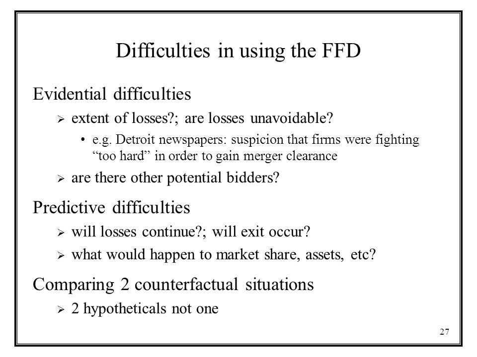 Difficulties in using the FFD