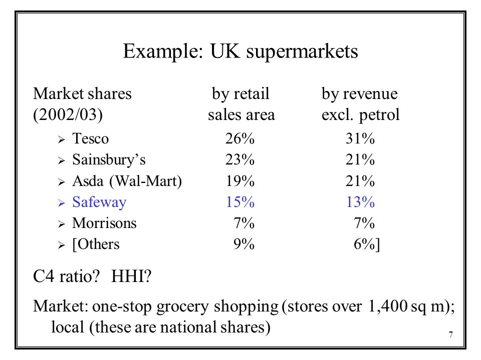 Example: UK supermarkets