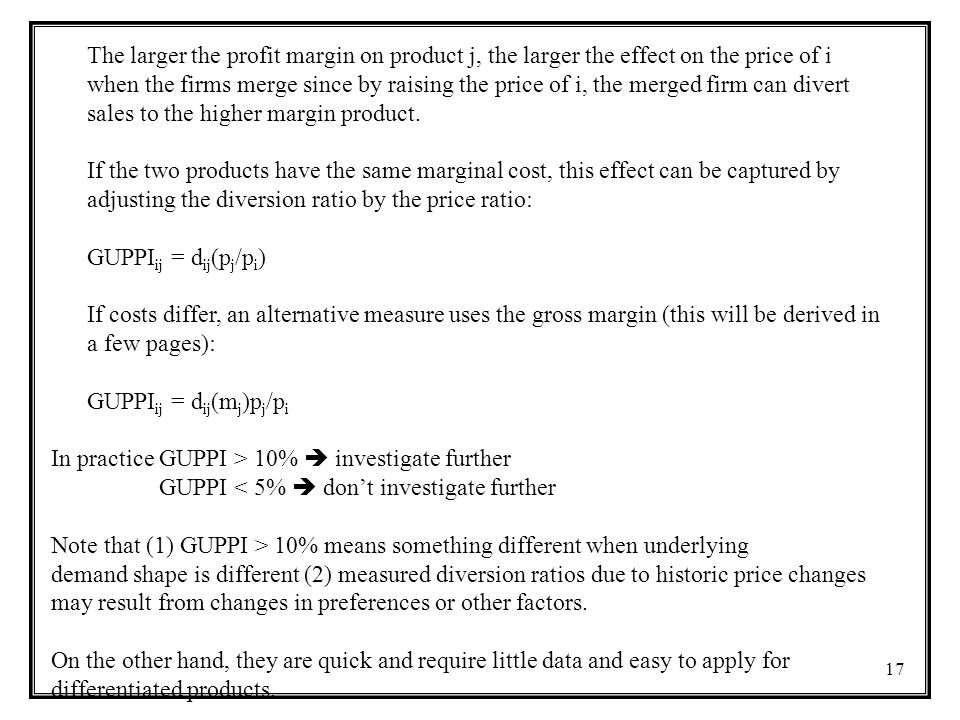The larger the profit margin on product j, the larger the effect on the price of i