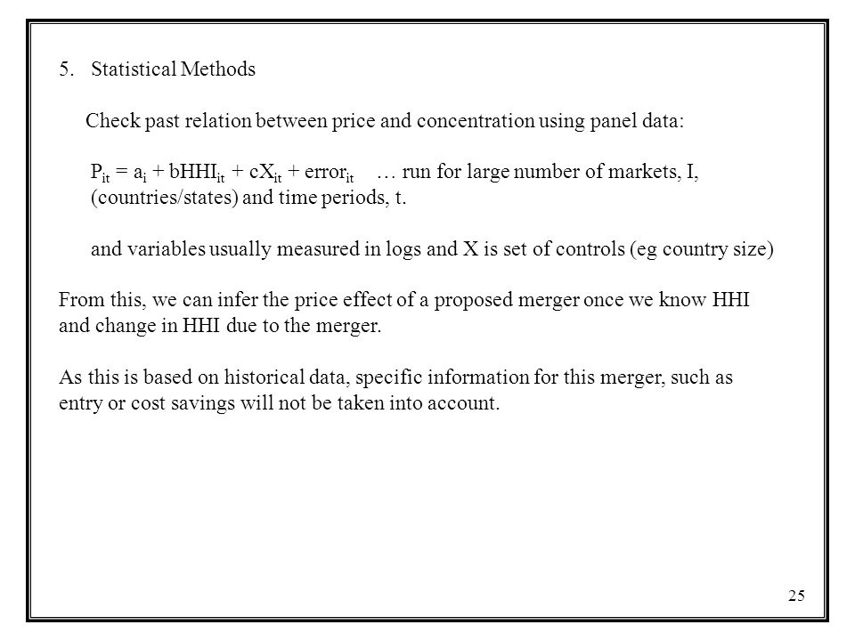 Statistical Methods Check past relation between price and concentration using panel data: