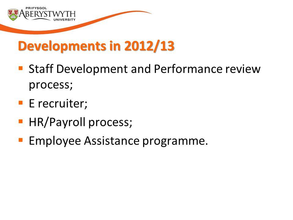 Developments in 2012/13 Staff Development and Performance review process; E recruiter; HR/Payroll process;