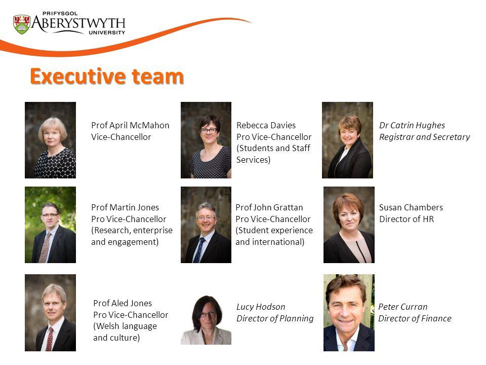 Executive team Prof April McMahon Vice-Chancellor Rebecca Davies