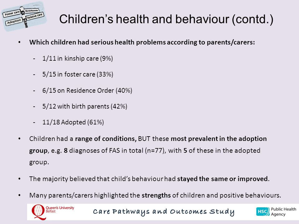Children's health and behaviour (contd.)