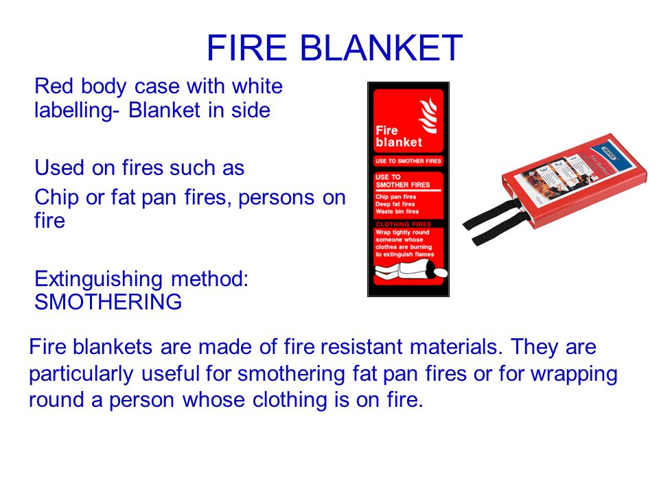 FIRE BLANKET Red body case with white labelling- Blanket in side