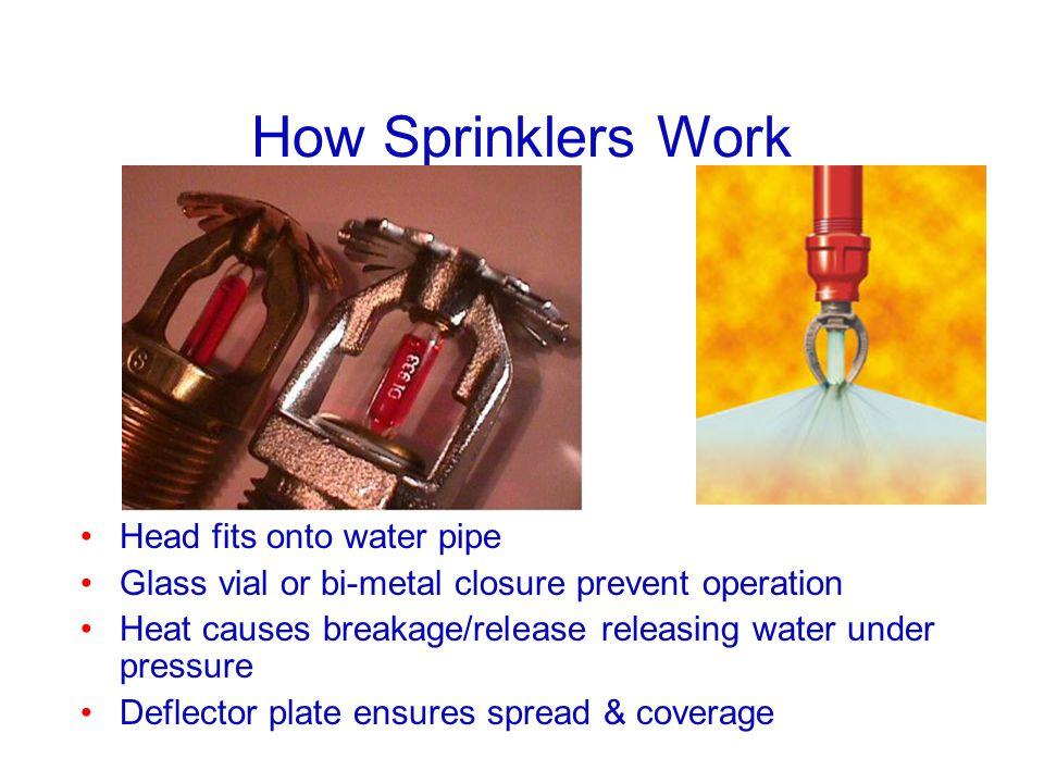 How Sprinklers Work Head fits onto water pipe