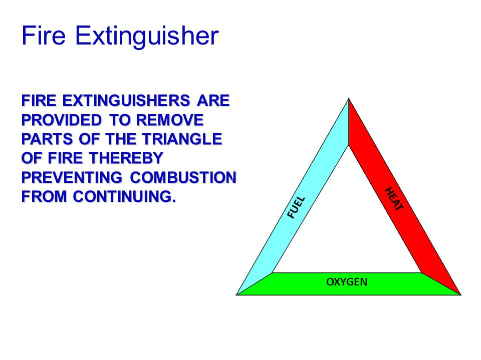 Fire Extinguisher FIRE EXTINGUISHERS ARE PROVIDED TO REMOVE PARTS OF THE TRIANGLE OF FIRE THEREBY PREVENTING COMBUSTION FROM CONTINUING.