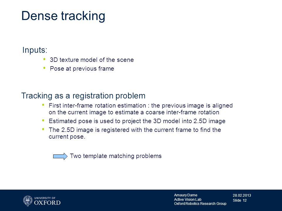Dense tracking Inputs: Tracking as a registration problem