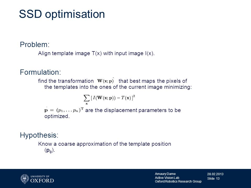 SSD optimisation Problem: Formulation: Hypothesis: