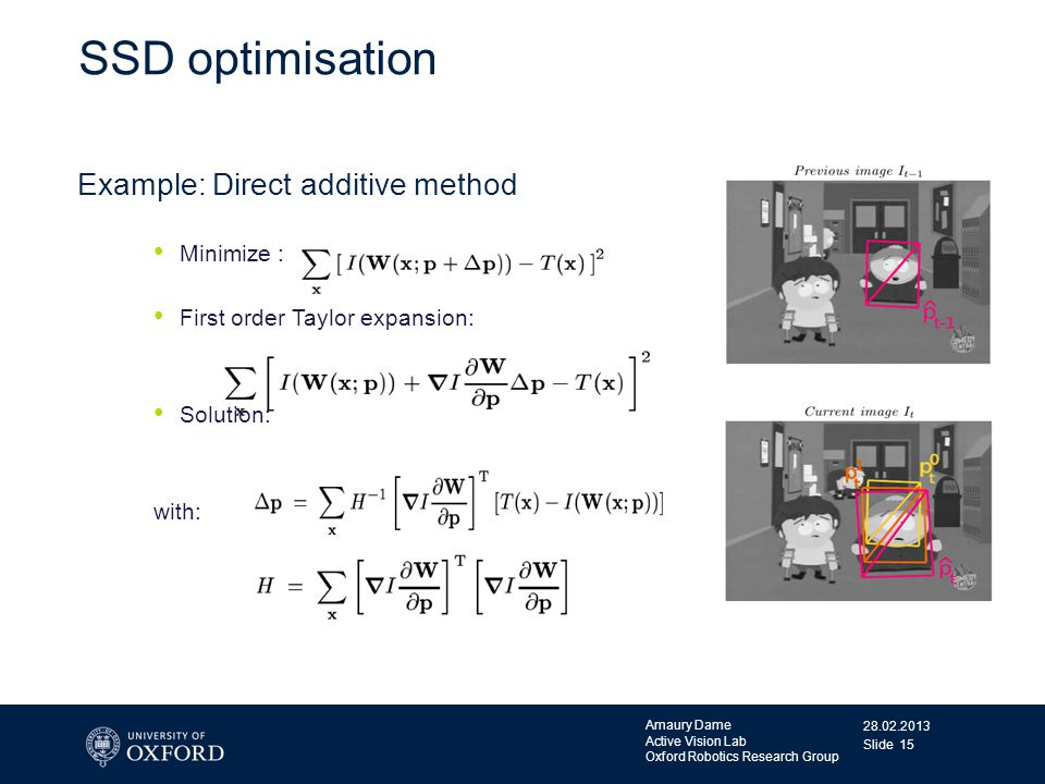 SSD optimisation Example: Direct additive method Minimize :