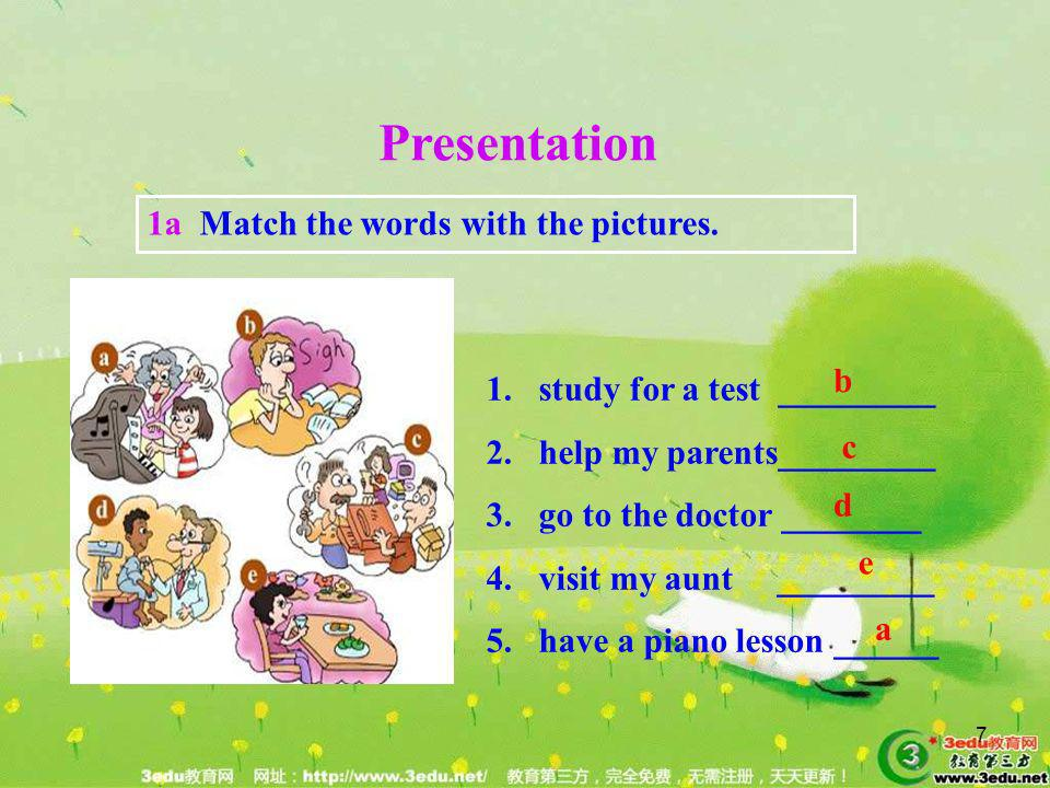 Presentation 1a Match the words with the pictures. b