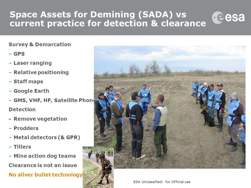 Space Assets for Demining (SADA) vs current practice for detection & clearance