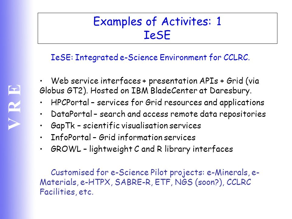 Examples of Activites: 1 IeSE