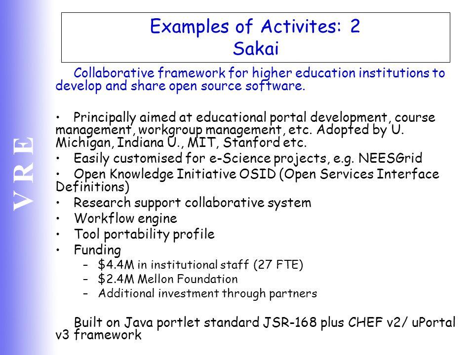 Examples of Activites: 2 Sakai