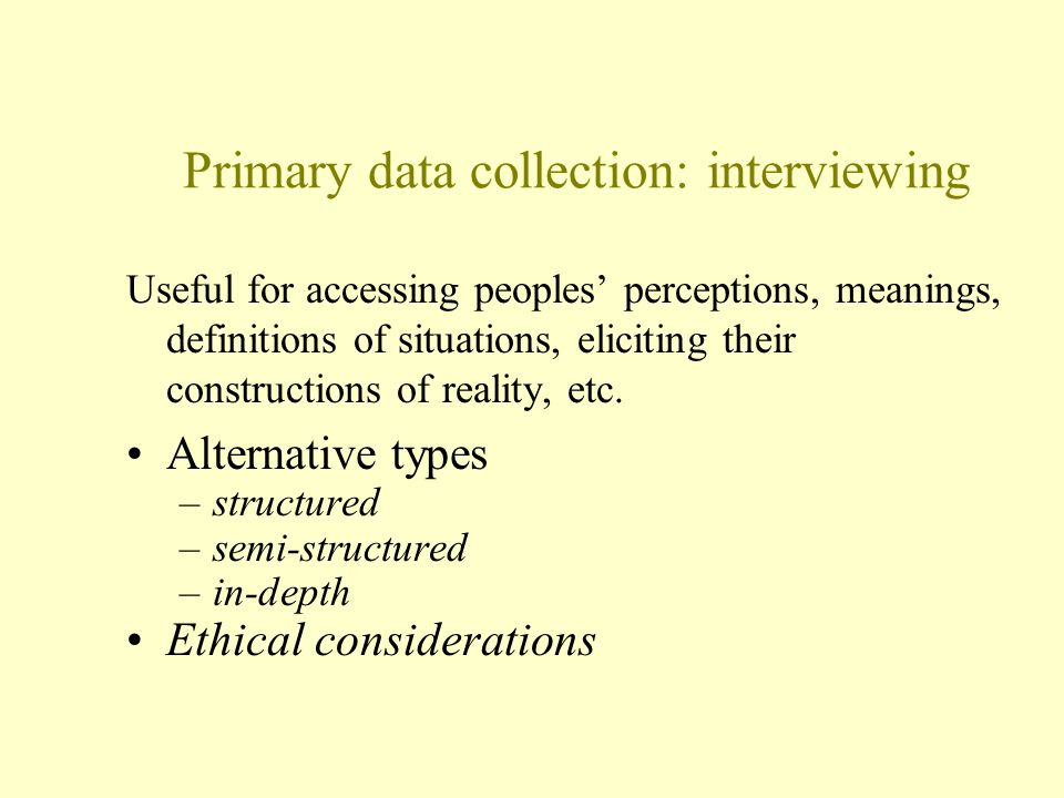 Primary data collection: interviewing