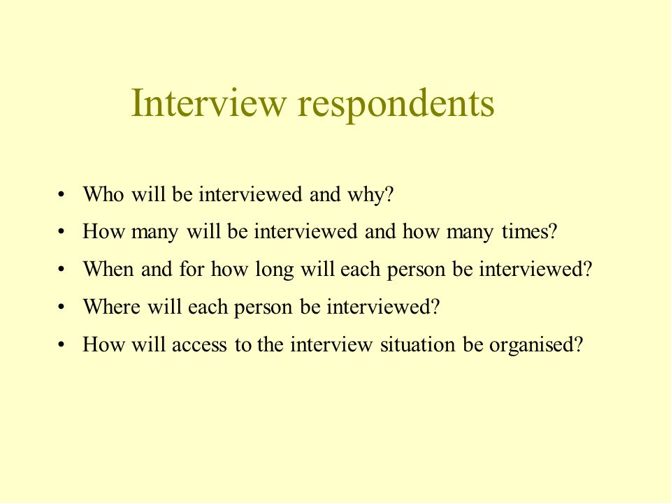 Interview respondents