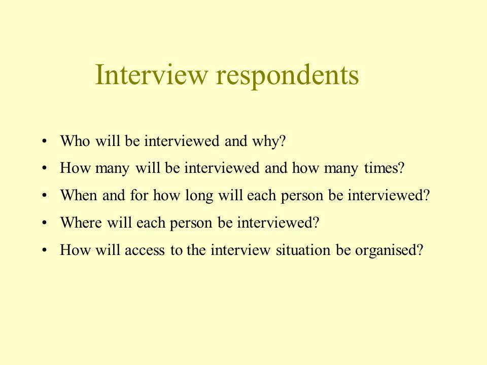 Interview respondents