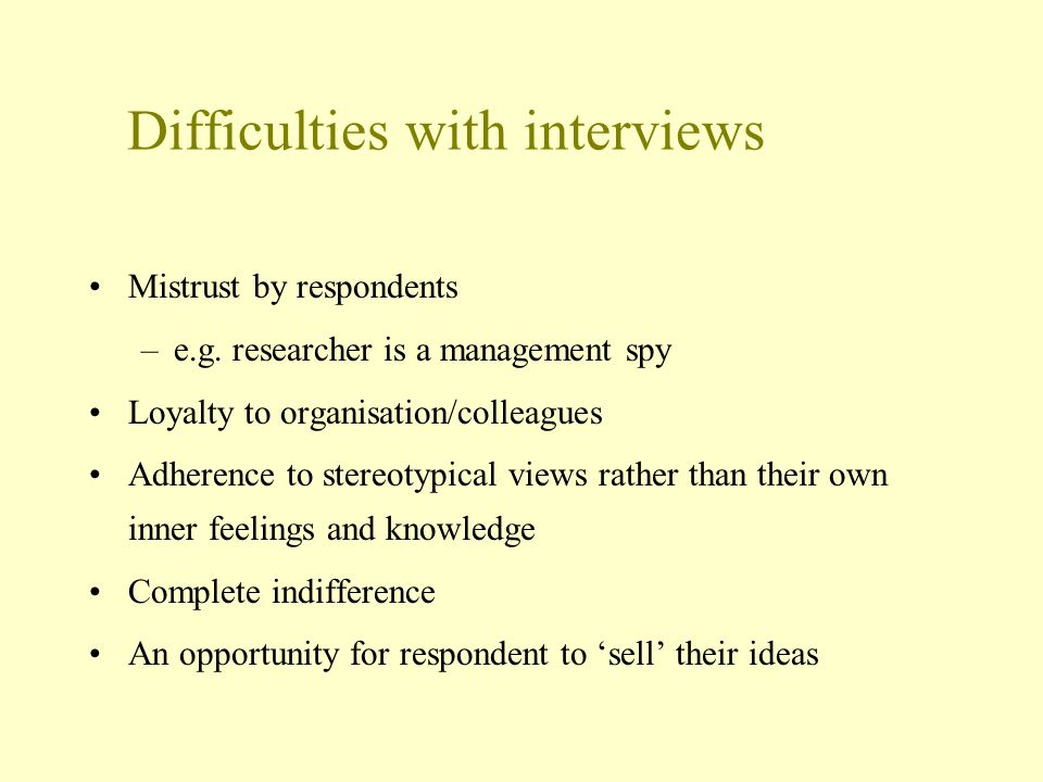 Difficulties with interviews