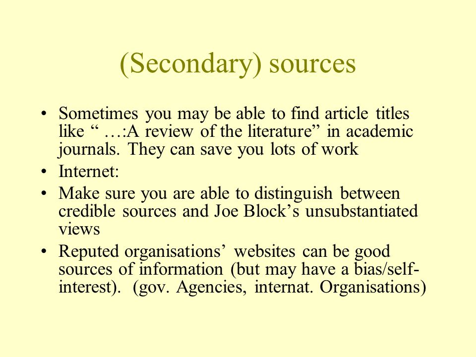 (Secondary) sources