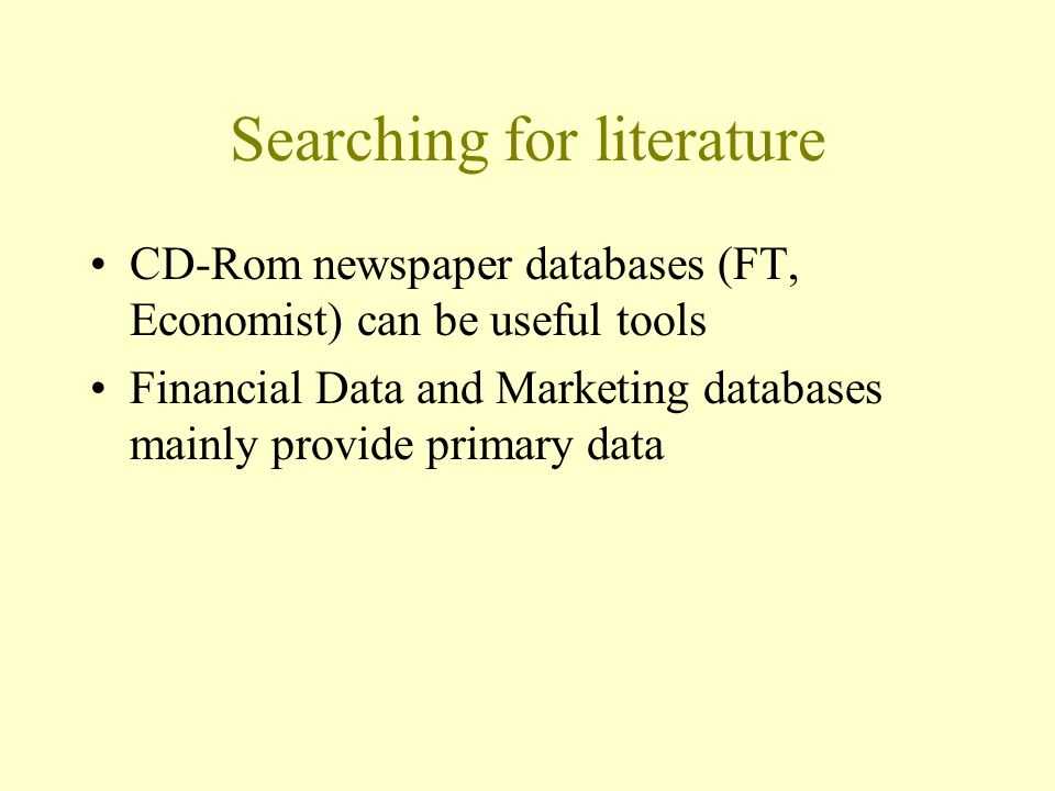Searching for literature