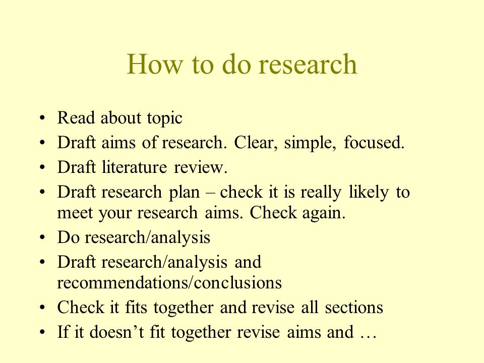 How to do research Read about topic