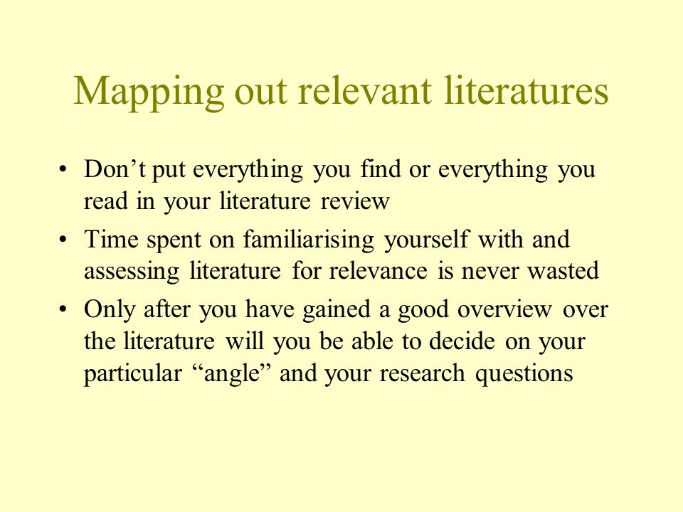 Mapping out relevant literatures