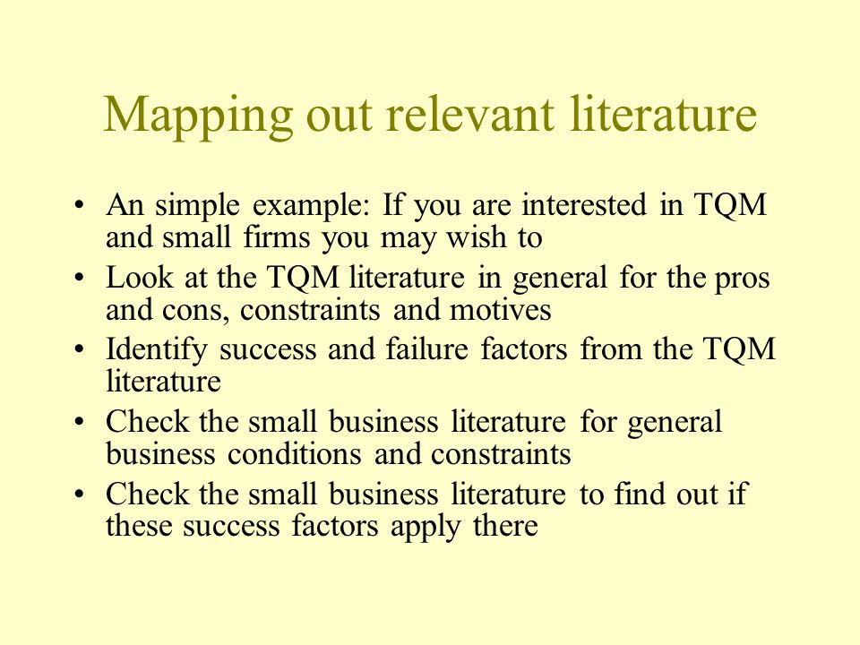 Mapping out relevant literature