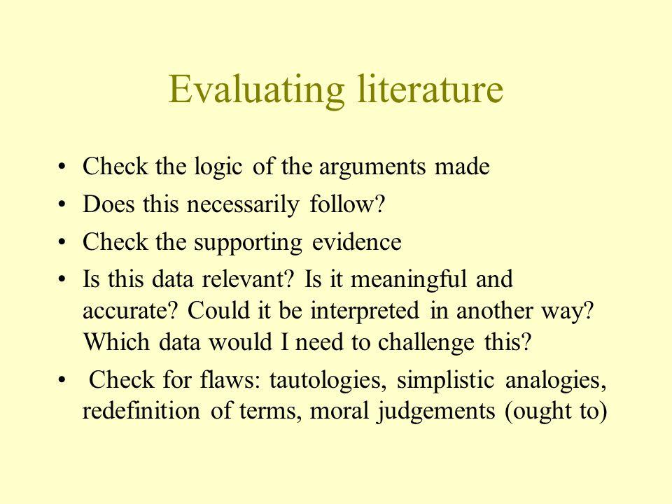Evaluating literature